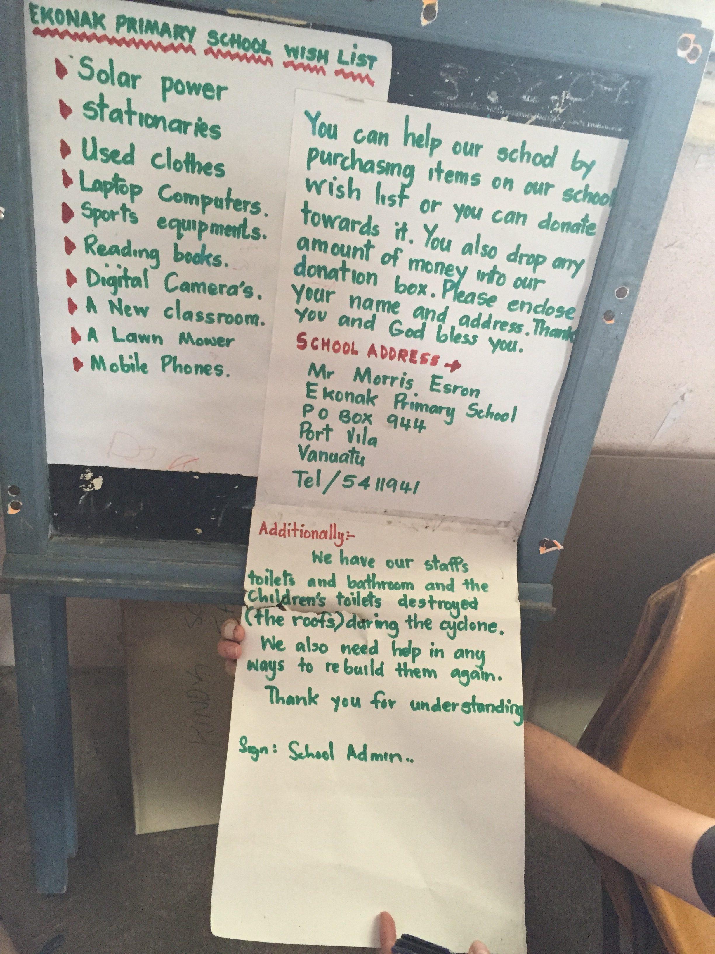 Lista de deseos y dirección para hacer envíos